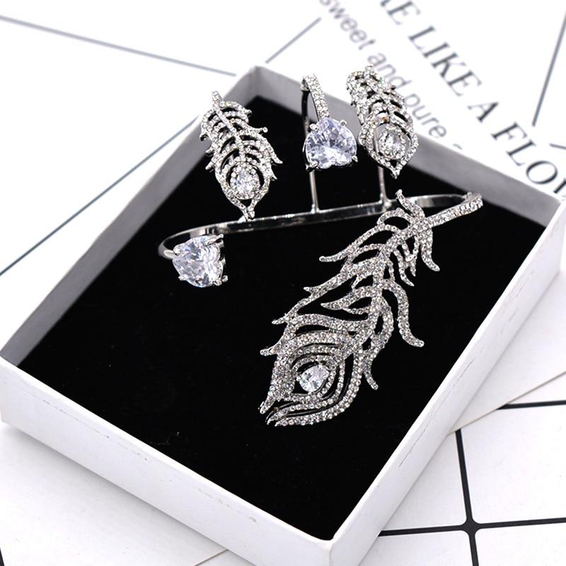 Bracelet de luxe en cristal argent plume Bracelet de paume femmes fille couleur or blanc manchette à la main mode brillant strass Bracelet bijoux - 4