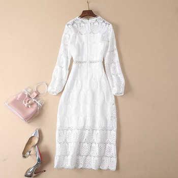 HIGH QUALITY Newest Fashion 2019 Designer Runway Dress Women\'s Elegant Lantern Sleeve Sweet White Water Soluble Lace Dress