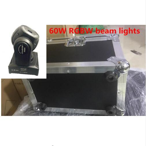 2PCS 60W + Flightcase LED Spot Moving Head Light/USA Luminums  Mini Led Beam Moving Head   60W RGBW 4in1 Beam  LED DJ Spot Light