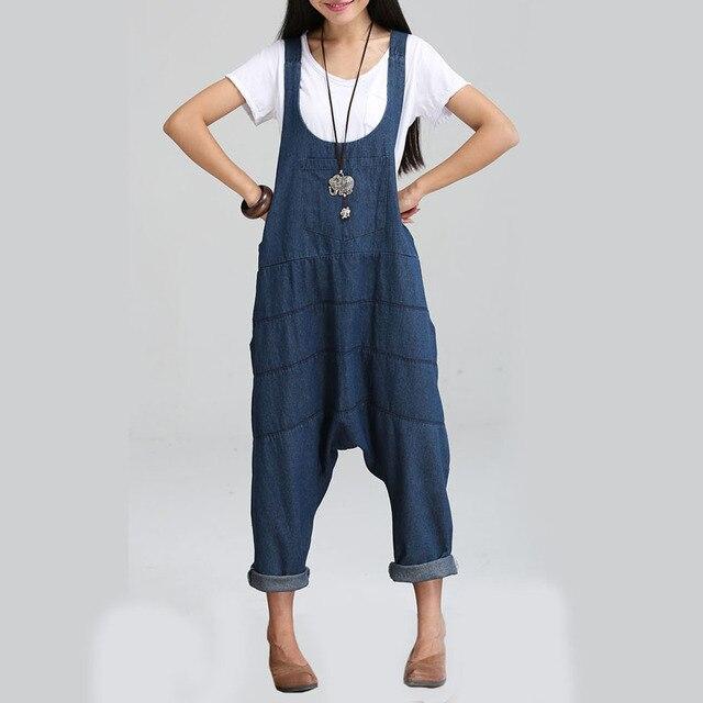 Spring Denim Jumpsuits Women  Harem Pants Ladies' Loose Jeans Gallus Rompers Female Suspender Big Size