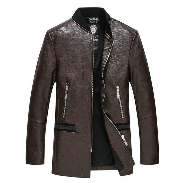 Hot 2017 New Fashion Slim stand collar Leather Jacket Men Motorcycle Jacket Sheep skin the long section Genuine Leather jackets