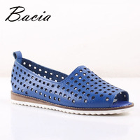 Bacia New Casual Soft Leather Hollow Shoes Peep Toe Flats Rice Blue Spring Summer Leisure Full