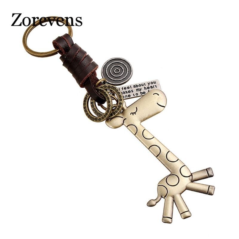 ZORCVENS Cartoon Long Giraffe Keychain Cow Leather Chain Charm Mens Key Chain Cute Animal Keycover Bag Car Keyring Pendants