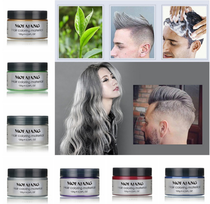 7 Colorful Hair Coloring Cream Styling One-Time DIY Color Hair Wax Disposable Temporary Hair Dye Mud Grandma Gray Purple new