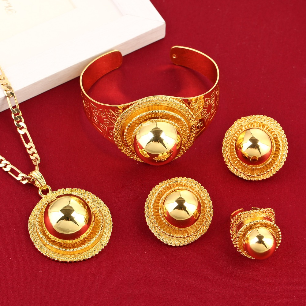 New Big Ethiopian Wedding Jewelry Set Gold Color Eritrea
