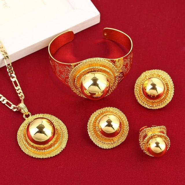 New Big Ethiopian Wedding Jewelry Set Gold Color Eritrea Africa
