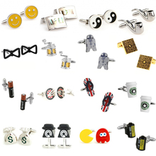 Hot Sale 16 Designs Mens Cufflink Cuff Link Free Shipping cheap Tie Clips Cufflinks Fashion Cuff Links YH014 Stone Classic Simulated-pearl Stainless Steel Various