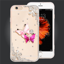 "Crystal Rhinestone clear soft TPU+PC phone cases for iphone 6 6S 4.7"" Diamond design bottle shoes crown protect cover Dust plug"