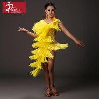Promotion Fringe Children Latin Dance Costumes Tassel Dresses For Girl