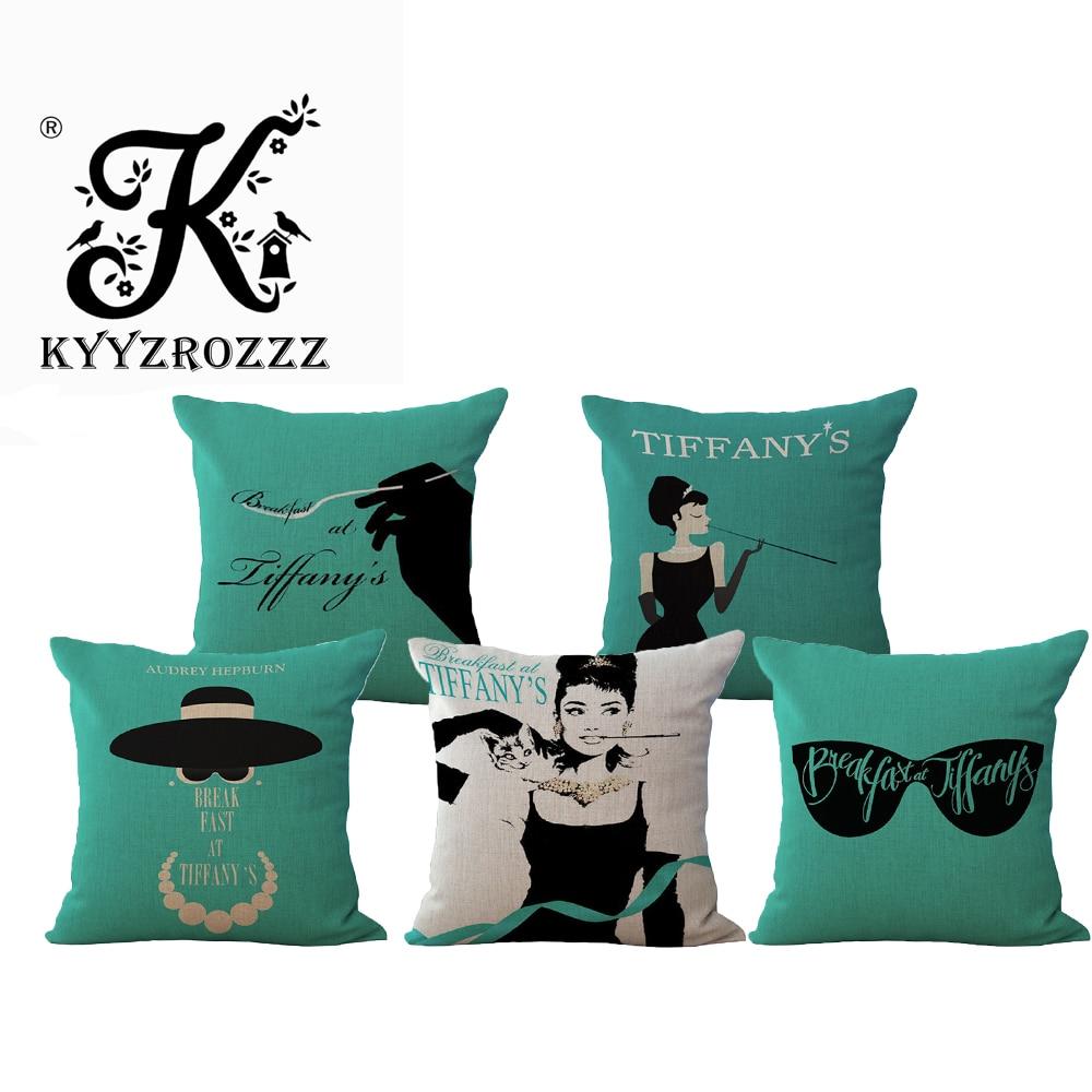 Fashion High Quality Cotton Linen Tiffany Breakfast Audrey Hepburn Decorative Throw Pillow Case Cushion Cover Sofa Home Decor