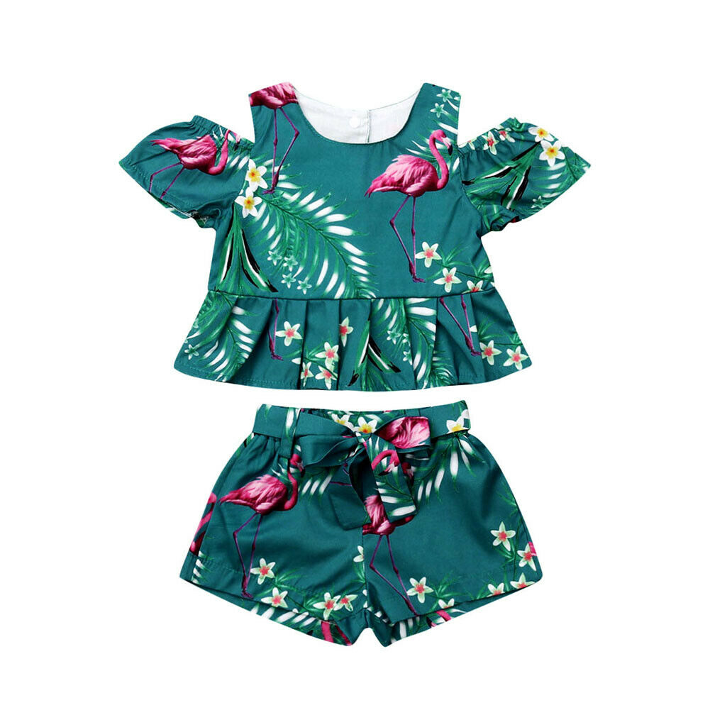 9dd7dc999e23 Summer Toddler Kids Baby Girls Floral Tops Shorts 2PCS Outfits Set Clothes  6M-4T