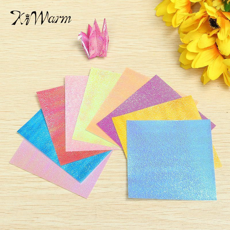diy 20 sheets lovely square origami folding paper solid color shining papers scrapbooking craft mixture colors - Color Papers