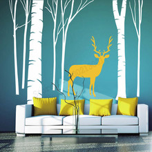 Room Decoration Birch Tree Forest Deer Wall Sticker Vinyl Art Removeable Poster Beauty Tree Fashion Modern Ornament LY545 цена