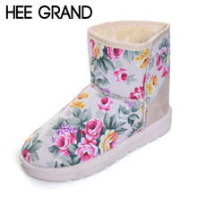HEE GRAND Flower Faux Fur Casual Shoes Woman Winter Warm Women Ankle Boots  Creepers Snow Boots 1e2fd45ee0e5