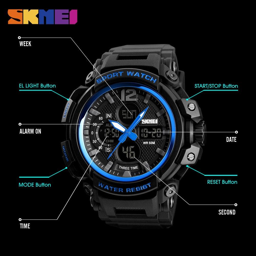Outdoor Sport Uhren Männer Laufschuhe Große Zifferblatt Digitale Armbanduhren Chronograph Pu Strap 50 Mt Wasserdicht Relogio Masculino Skmei Uhren