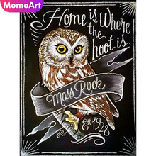 MomoArt Diamond Painting Full Drill Square In Embroidery Owl Cross Stitch DIY Mosaic Animal Gift
