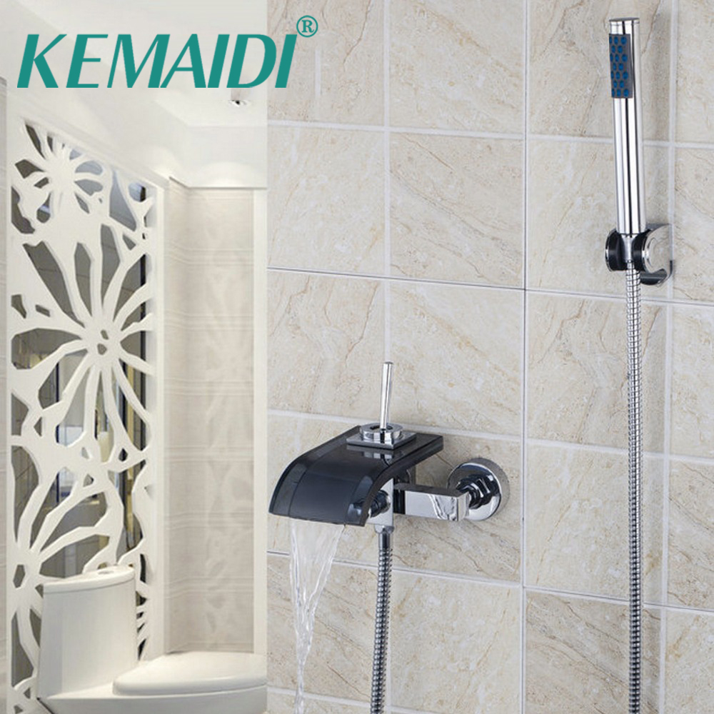KEMAIDI Wall Mounted Bathroom Waterfall Spout Shower Set Bath Basin Mixer Tap Bathtub Faucet Single Handle Durable Taps new chrome finish wall mounted bathroom shower faucet dual handle bathtub mixer tap with ceramic handheld shower head wtf931
