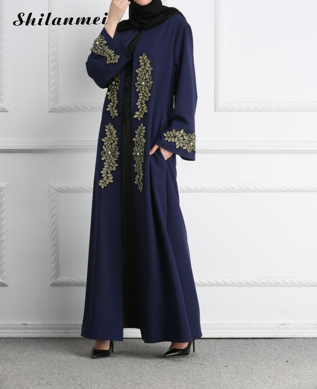 Loose Middle Abaya Robe Dress Muslim Islamic Sleeve Long Floral Clothing Embroidery Eastern Maxi Turkey Kimono qpwZxRxPnX
