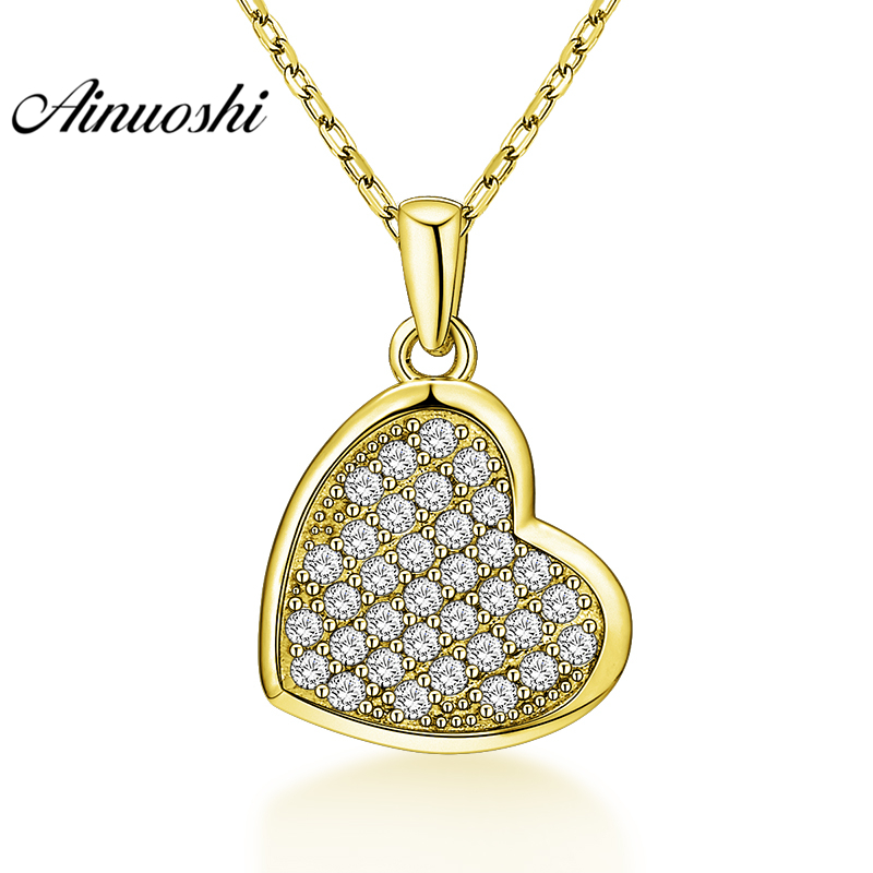 AINUOSHI 10K Solid Yellow Gold Pendant Solid Heart Pendant SONA Diamond Women Men Lovers Jewelry Heart Design Separate Pendant