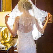 White Ivory Two Layers Bridal Veil With Crystals Beaded Wedding Combe Accessories 2019 New Arrival