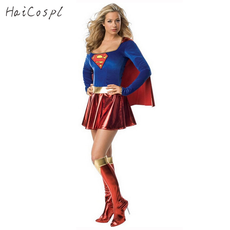 Superwomen Cosplay Costume Halloween Female Sexy Dress Festival Party Fancy Stage Show Superhero disguise Suit Elastic Blue Red
