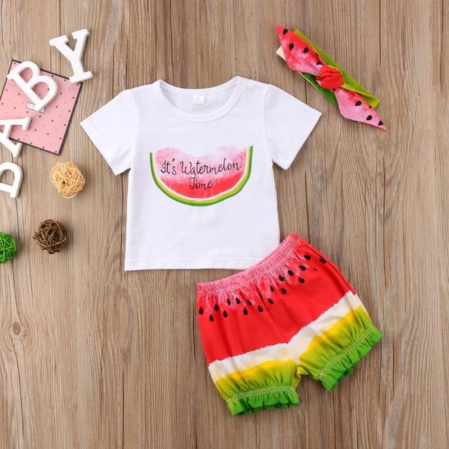 43fb73586dda 3pcs Kids Baby Girl Watermelon Fruits Outfit Headband T-shirts Shorts Pants  Clothes Set 2018 Summer Short Sleeve Cotton Clothing