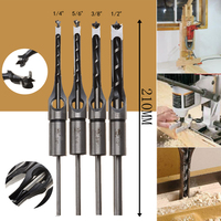 4PCS Square Hole Drill Bits Set HSS Mortising Chisel Woodworking 6 35mm 7 94mm 9 5mm
