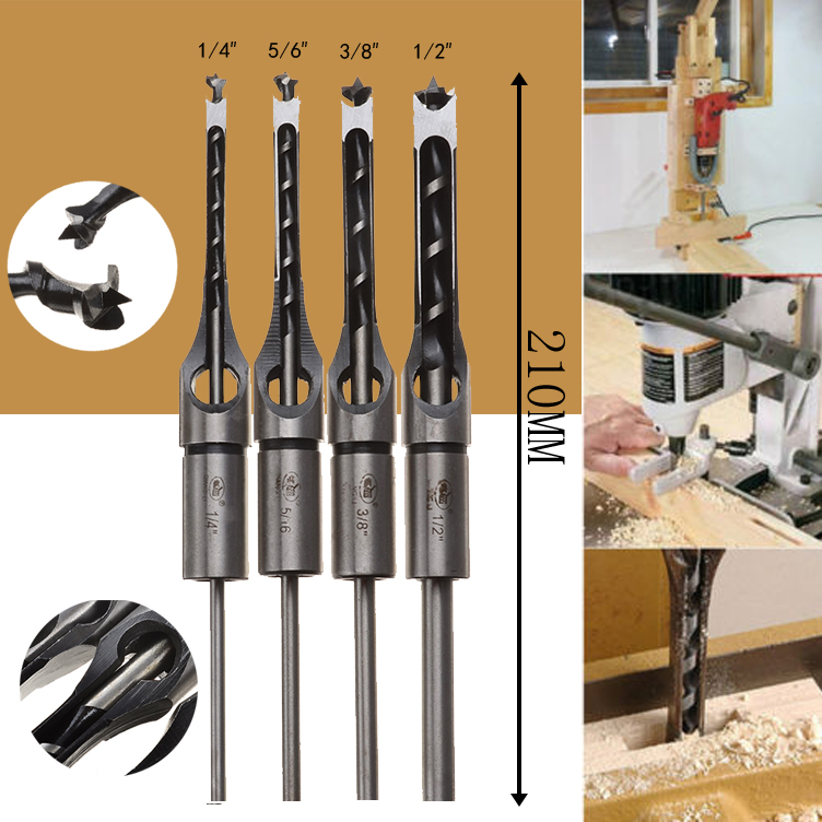 цена на 4PCS Square Hole Drill Bits Set HSS Mortising Chisel Woodworking 6.35mm/7.94mm/9.5mm/12.7mm Drilling Tools For Carpentry 4Sizes