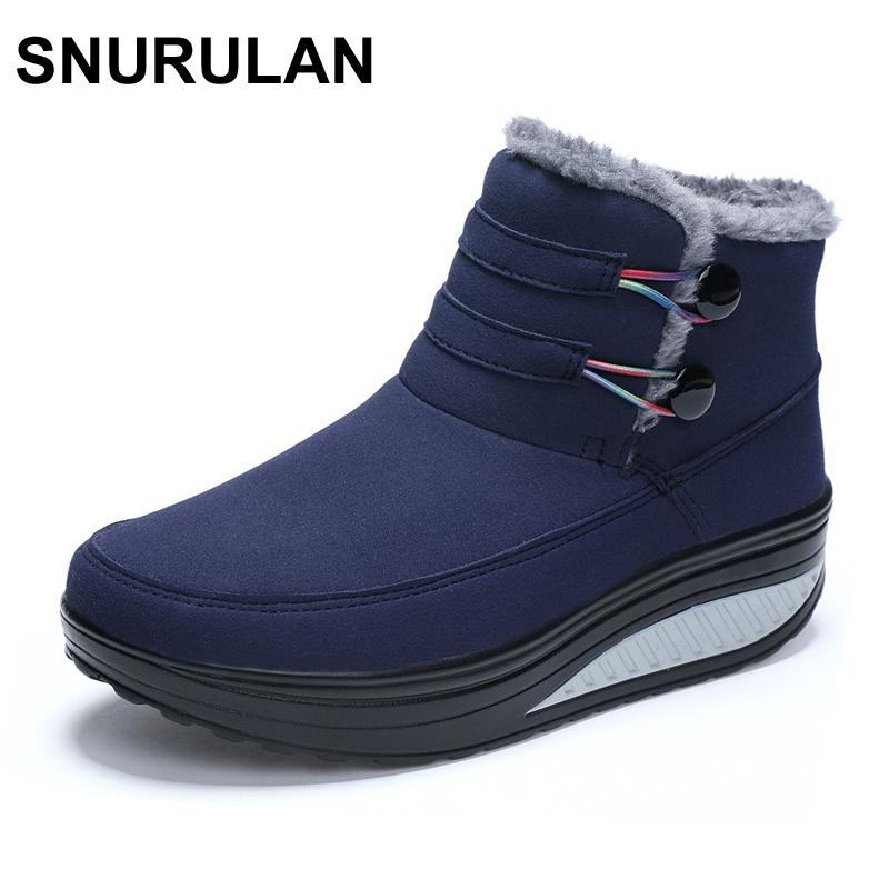 SNURULAN Winter Shoes Woman Platform Boots Keep Warm Snow Boots Spli-On Cotton Ankle Boots Women Plus Plush Women's Shoes fashion keep warm winter women boots snow boots 2017 buckle cotton boots women boots shoes