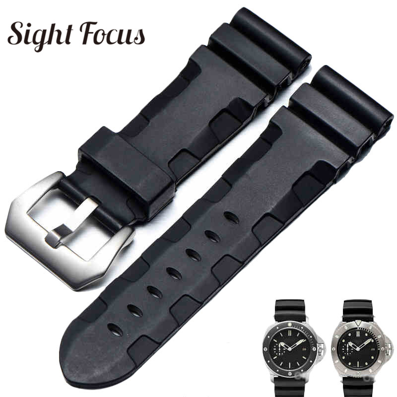 f7c4d34f0e4 Detail Feedback Questions about Soft Rubber Replacement Strap for Panerai  Luminor 24mm 26mm Bands Men Waterproof Diving Sports Watch Belt Male Watch  ...