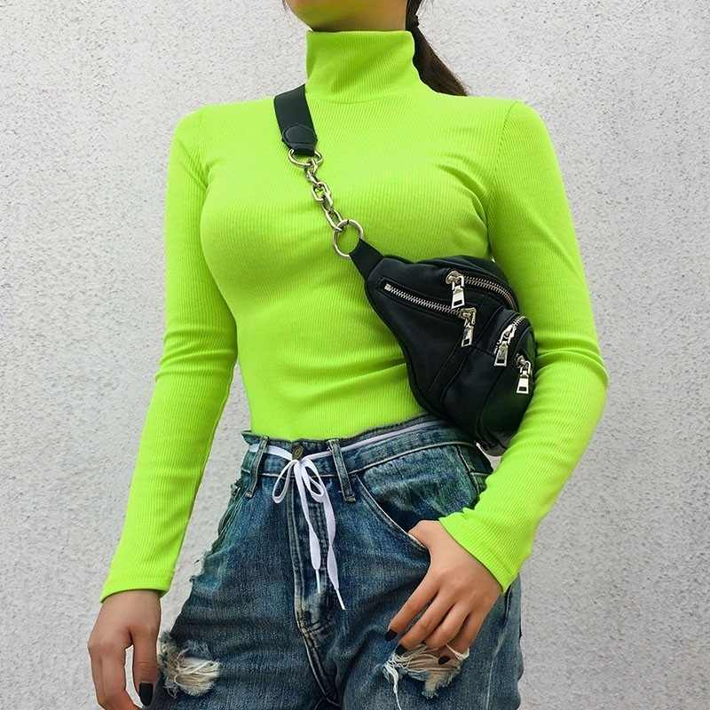 Autumn Winter Long Sleeve Turtleneck Sweater Women Streetwear Solid Knit Sweaters Women Black Pink Cotton Pullovers Femme 2019