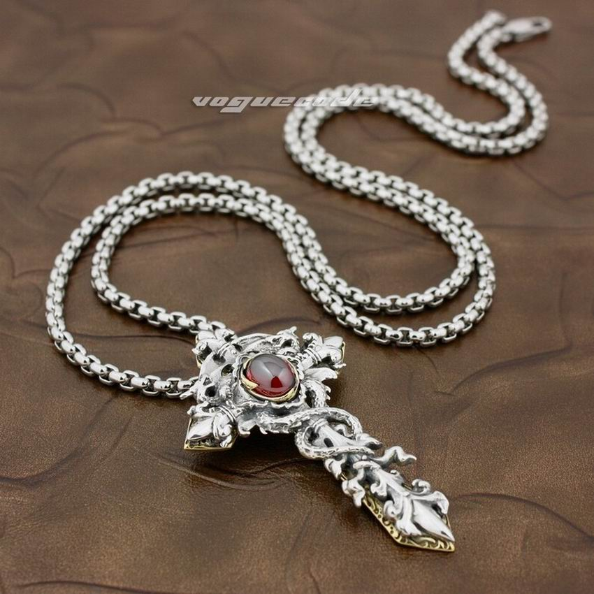 Здесь продается  LINSION 925 Sterling Silver Dragon Twine Brass Cross Sword Red CZ Mens Biker Rock Punk Pendant 8X003  Ювелирные изделия и часы