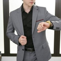 Male suit slim suits fashion business casual grey buckle