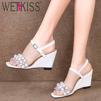 WETKISS Wedges High Heels Sandals Women Summer Transparent Pvc Sandals Crystal Shoes Female Fashion Shoes Ladies 2019 New Yellow