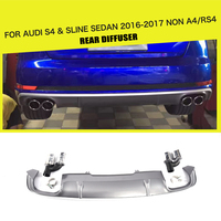 PP Car Rear Diffuser Lip Bumper Protector With Exhaust Muffler for Audi S4 B9 A4 Sline Sedan 4 Door Non A4 RS4 2017 2018