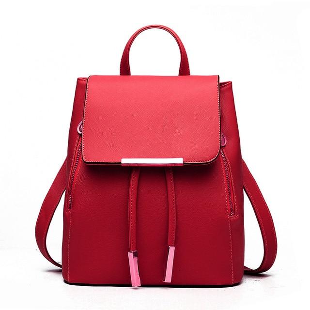 bf189b43b977 Women Backpack PU Leather Mochila Escolar School Bags For Teenagers Girls  Top-handle Backpacks Herald Fashion Travel Bag ZX021