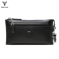 Mingclan Luxury Brand Male Leather Purse Men's Clutch Wallets Handy Bags Business Handbag Men Day Clutch Bag With Zipper Pocket
