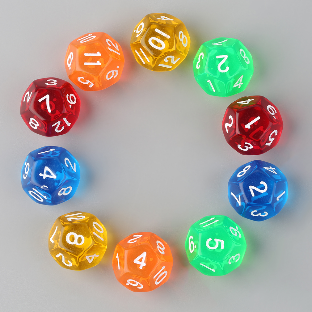 10pcs/Set Multicolor Transparent 12-Sided Role Playing Game Dices D12 Hot Selling