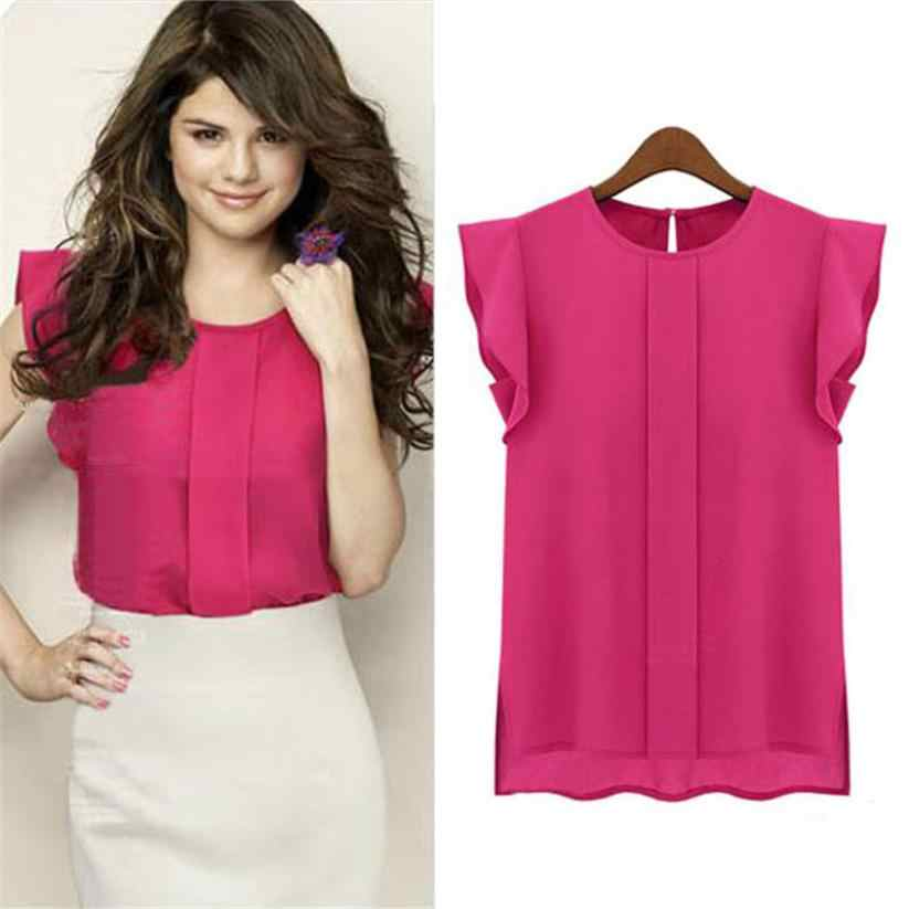 Hot Koop Fashion Womens Casual Losse Chiffon Ruches Shirt Mouwloze Elegante Blouse Vrouwelijke Shirt Tops Mujer Blusas Femme 45