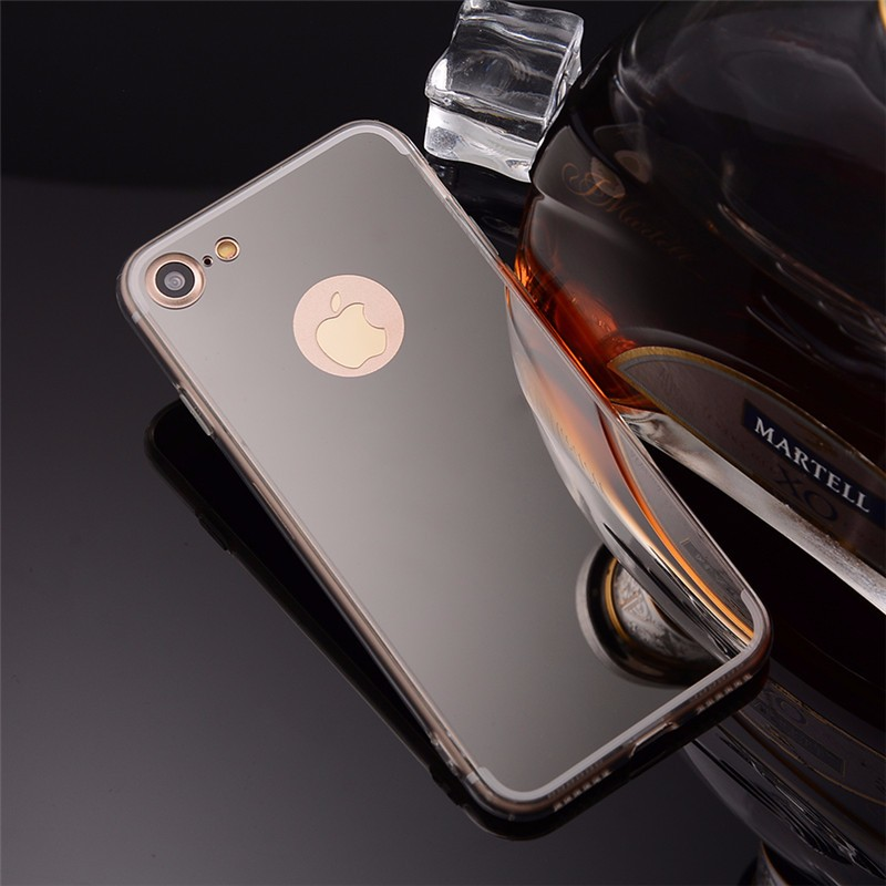 Telefonfodral Lyxig mjuk silikonspegel för iPhone 7 fodral Ultrathin - Reservdelar och tillbehör för mobiltelefoner
