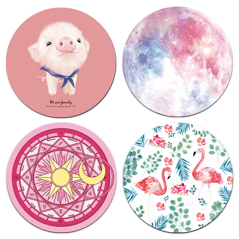 Galaxy Flamingo Pink Pig Leaf Art Design Mouse Pad Round Office Mice Pad Rubber Home Computer Anti-slip Table Mat Study Room PC