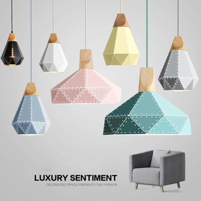 где купить Nordic chandelier postmodern three creative color single-head simple clothing store iron art loft dining room chandelier по лучшей цене