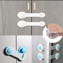MCGMITT 10PCS Baby Safety Lock Children Cabinet Drawer Door Fridge blockers Plastic Lock For kids safety protection cover(China)