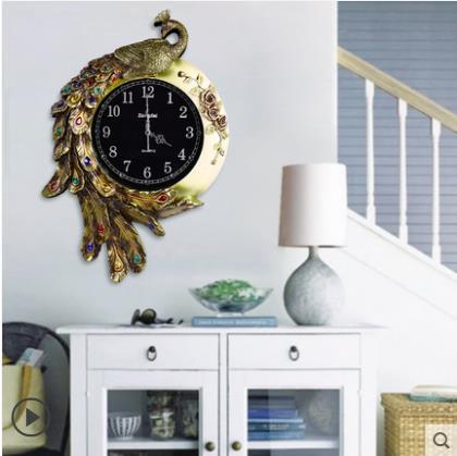 Horloge murale paon, salon décoration créative horloge à la maison, fournitures de décoration de bureau à la maison