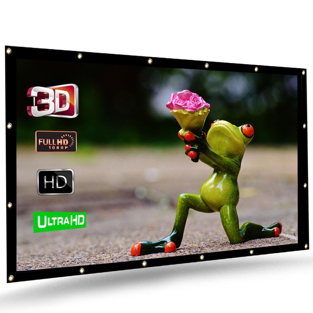 Écran de Projection pliable HENZIN 100 120 pouces 16:9 HD écran de Projection en tissu PVC pour bureau cinéma maison cinéma en plein air cinéma