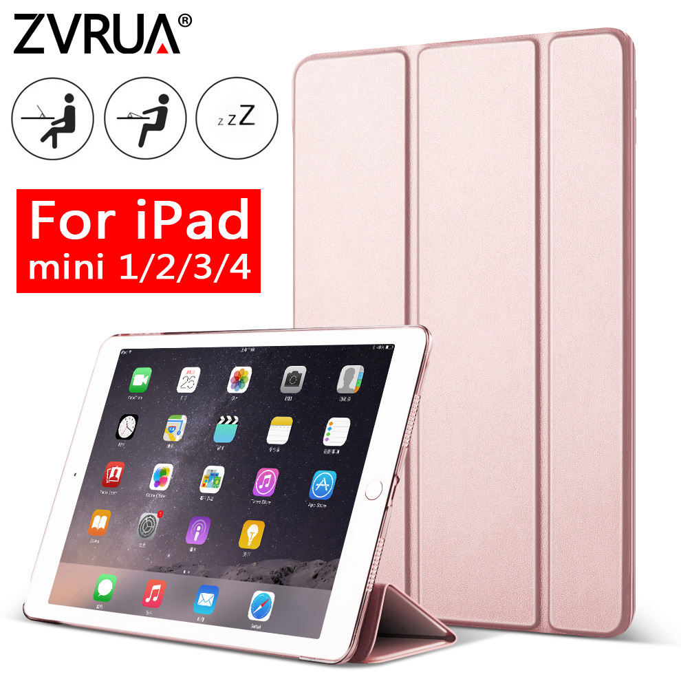 Para ipad mini 4 3 2 1 zvrua yippe case magro pu couro com três dobras stand auto sono / wake up smart cover para mini1 mini2 mini3 mini4