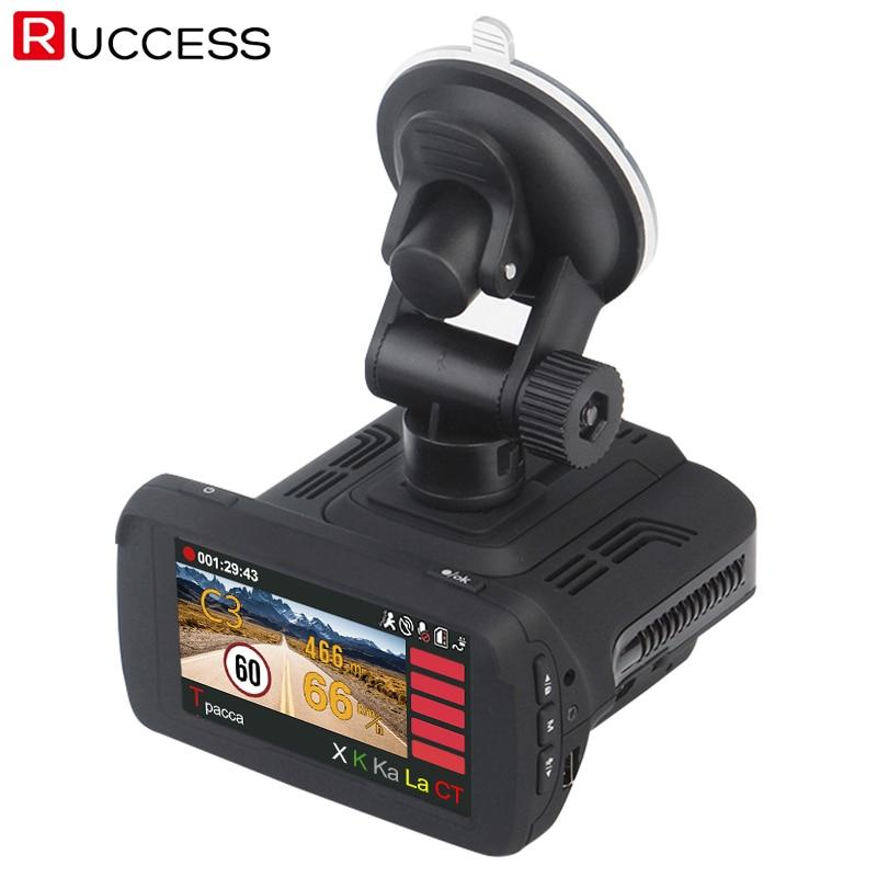 Ruccess GPS Radar Detector for Russia Ambarella A7LA50 3 In 1 Car DVR Camera 1296p Video