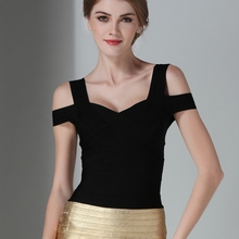 Claire 2016 Summer Black Off The Shoulder Hollow Out Women's Bandage Top DC1019