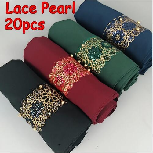 H9 20pcs High quality lace pearl bubble chifffon hijab lady shawls women scarf scarves 180 75cm