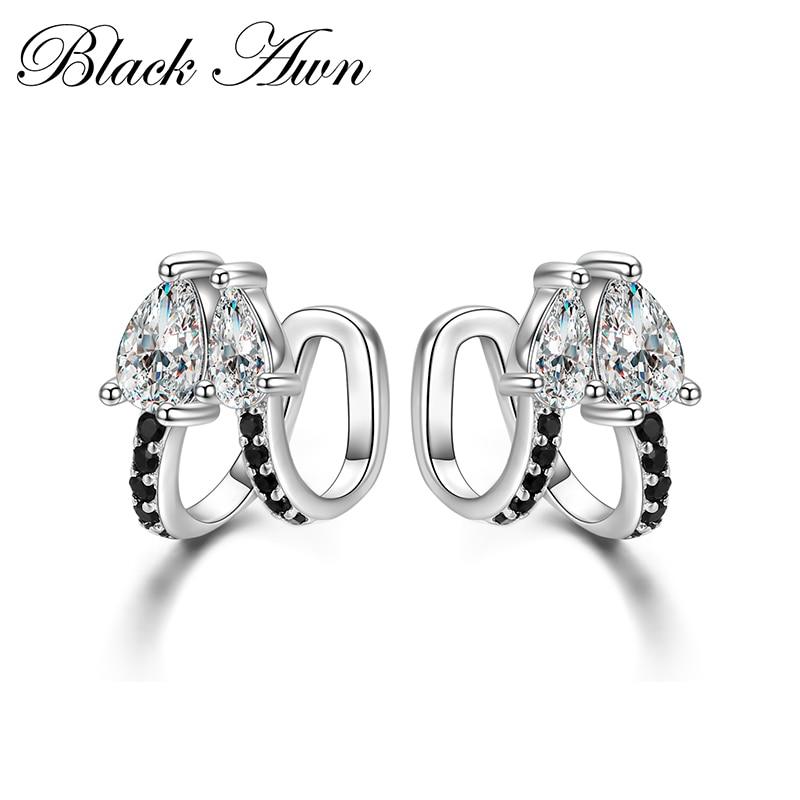 Ear Clip Birthday Present 925 Sterling Silver Jewelry Engagement Stud Earrings For Women Black Spinel Female Earring II024
